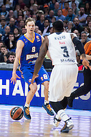 Real Madrid's KC Rivers and Khimki Moscow's Petteri Koponen during Euroleague match at Barclaycard Center in Madrid. April 07, 2016. (ALTERPHOTOS/Borja B.Hojas) /NortePhoto