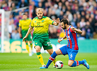 Norwich City Teemu Pukki and Crystal Palace Luka Milivojevic during the Premier League match between Crystal Palace and Norwich City at Selhurst Park, London, England on 28 September 2019. Photo by Andrew Aleksiejczuk / PRiME Media Images.