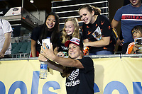 Cary, North Carolina  - Saturday June 17, 2017: Heather O'Reilly takes a selfie with some fans after a regular season National Women's Soccer League (NWSL) match between the North Carolina Courage and the Boston Breakers at Sahlen's Stadium at WakeMed Soccer Park. The Courage won the game 3-1.