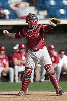 Hunter Lockwood (23) of the Oklahoma Sooners in the field against the Pepperdine Waves at Eddy D. Field Stadium on February 18, 2012 in Malibu,California. Pepperdine defeated Oklahoma 10-0.(Larry Goren/Four Seam Images)