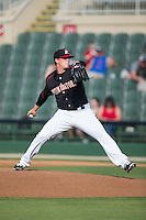 Kannapolis Intimidators starting pitcher Thad Lowry (24) in action against the Lexington Legends at CMC-Northeast Stadium on May 25, 2015 in Kannapolis, North Carolina.  The Intimidators defeated the Legends 6-5.  (Brian Westerholt/Four Seam Images)