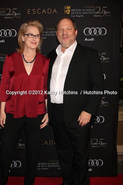 LOS ANGELES - JAN 14:  Meryl Streep, Harvey Weinstein arrives at  the BAFTA Award Season Tea Party 2012 at Four Seaons Hotel on January 14, 2012 in Beverly Hills, CA