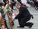 Turkish representative lays a wreath at the Famine Commemoration in Drogheda. Photo: Colin Bell/pressphotos.ie