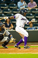 Jared Mitchell #24 of the Winston-Salem Dash follows through on his swing against the Wilmington Blue Rocks at BB&T Ballpark on August 3, 2011 in Winston-Salem, North Carolina.  The Blue Rocks defeated the Dash 6-2.   Brian Westerholt / Four Seam Images