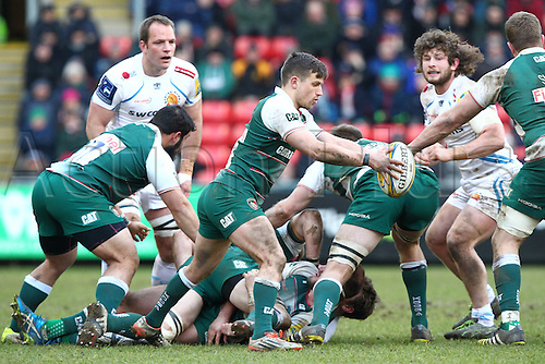 06.03.2016. Welford Road, Leicester, England. Aviva Premiership. Leicester Tigers versus Exeter Chiefs.  Tigers  scrum-half Jono Kitto kicks for position.
