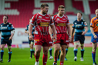 Saturday 10 May 2014<br /> Pictured: ( l-r) Rob Evans and Rhodri Jones of the Scarlets <br /> Re: Scarlets v Blues Rabo Direct Pro 12 Rugby Union Match at Parc y Scarlets, Llanelli, Wales