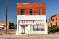 Old abandoned game room building in Ranger, TX