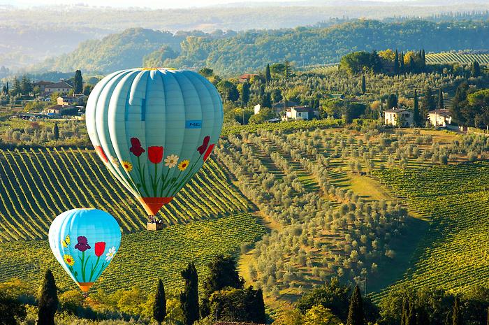 Elsa Valley From San Gimignano at dawn with Hot Air Balloons - Tuscany Chianti Italy.