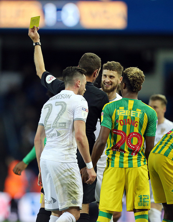 Leeds United's Mateusz Klich is shown a yellow card by referee David Coote<br /> <br /> Photographer Rich Linley/CameraSport<br /> <br /> The EFL Sky Bet Championship - Tuesday 1st October 2019  - Leeds United v West Bromwich Albion - Elland Road - Leeds<br /> <br /> World Copyright © 2019 CameraSport. All rights reserved. 43 Linden Ave. Countesthorpe. Leicester. England. LE8 5PG - Tel: +44 (0) 116 277 4147 - admin@camerasport.com - www.camerasport.com