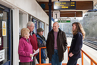 Enjoying a chat on the platform from left are Irene & Eric Bradburn, John Evans, Bryan Lycett and Helen Gatensbury of East Midlands Trains