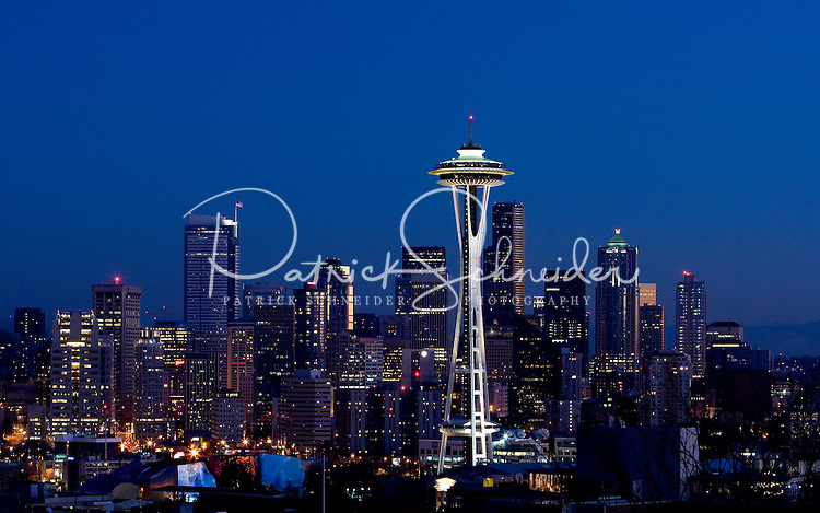The Space Needle dominates the skyline in Seattle Washington.