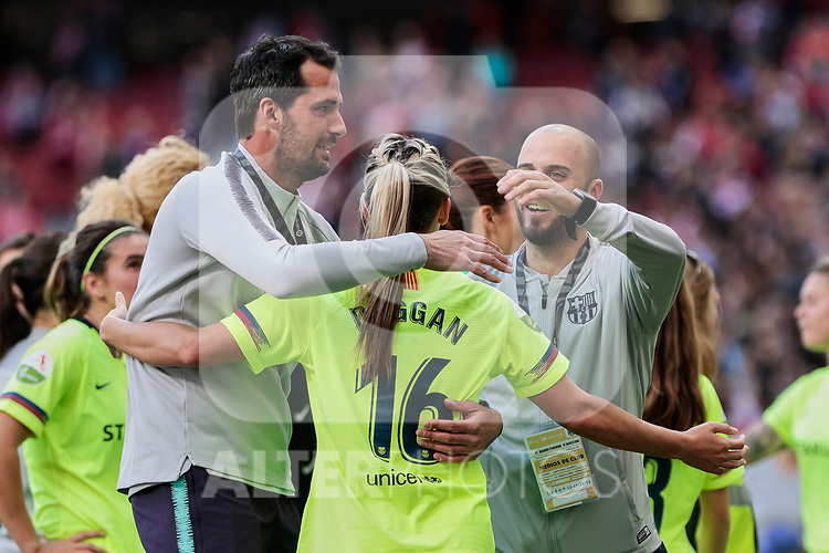 FC Barcelona's Toni Duggan celebrate the victory during Liga Iberdrola match between Atletico de Madrid and FC Barcelona at Wanda Metropolitano Stadium in Madrid, Spain. March 17, 2019. (ALTERPHOTOS/A. Perez Meca)