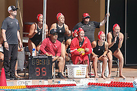 Stanford, CA - April 28, 2019: Team cheer during the Stanford vs USC MPSF Women's Water Polo Championship Sunday at the Avery Aquatic Center.<br /> <br /> No. 1 Stanford lost the MPSF Championship in sudden death to the No. 2 Trojans, 9-8.