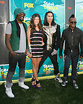 """UNIVERSAL CITY, CA. - August 09: Singers Will.i.am, Fergie, Taboo, and Apl de Ap of the """"Black Eyed Peas"""" arrive at the Teen Choice Awards 2009 held at the Gibson Amphitheatre on August 9, 2009 in Universal City, California."""