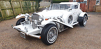BNPS.co.uk (01202 558833)<br /> Pic: Mathewsons/BNPS<br /> <br /> This Excalibur Roadster once belonged to Roy Orbison. <br /> <br /> A flamboyant convertible sports car that belonged to legendary singer Roy Orbison has emerged for sale for £20,000.<br /> <br /> The white Excalibur Roadster dates back to 1970 and was bought from new by the Pretty Woman performer.<br /> <br /> He kept it for several years before his death in 1988 and it was bought by a British buyer three years later in 1991.<br /> <br /> It has since found its way to Britain and is now set to go under the hammer with auctioneers Mathewsons of Pickering, North Yorks.