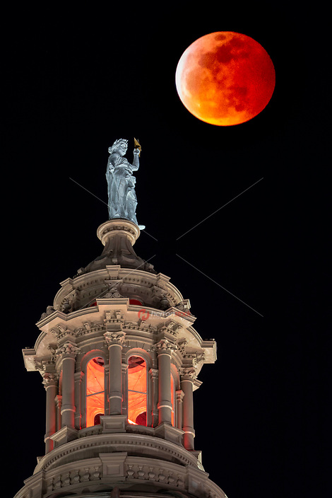 Central Texas' stargazers and astronomers are treated to both a full moon, Wolf Moon, Supermoon and a total lunar eclipse on January 20, 2019 over the Texas State Capitol dome in downtown Austin, Texas<br /> <br /> The moon will be at its closest point to Earth in its orbit, lighting up the night sky as a striking Supermoon. The eclipse will then give the moon a red glow, creating a phenomenon known as the Blood Moon.<br /> <br /> January's full moon has been known as a Wolf Moon for thousands of years. Ancient civilisations tracked the changing seasons by the lunar months rather than the solar calendar, naming the months after features they associated with the northern hemisphere seasons including howling wolves. These names are now used to identify the full moons.