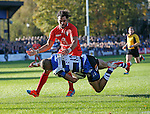 Jonathan Joseph of Bath is tackled by Yoann Huget of Toulouse - European Rugby Champions Cup - Bath Rugby vs Toulouse - Recreation Ground Bath - Season 2014/15 - October 25th 2014 - <br /> Photo Malcolm Couzens/Sportimage