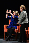 CORAL GABLES, FL - FEBRUARY 26: Hillary Rodham Clinton, Former Secretary of State (L) flashes a U symbol with her hands as she is seen with Donna E. Shalala, President of the University of Miami, during an event at the University of Miami BankUnited Center on February 26, 2014 in Coral Gables, Florida. Clinton is reported to be mulling a second 2016 presidential run. (Photo by Johnny Louis/jlnphotography.com)