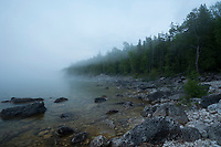 Little Cove, near Tobermory, Ontario, on a foggy evening.