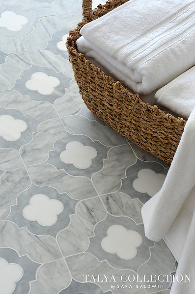 Irene, a stone waterjet mosaic shown in Allure honed, Snow White polished, and Avenza honed, is part of the Talya Collection by Sara Baldwin for Marble Systems.