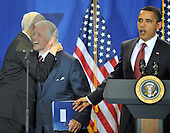 "Washington, D.C. - April 21, 2009 -- United States Senator Orrin Hatch (Republican of Utah), left, hugs U.S. Senator Edward M. ""Ted"" Kennedy (Democrat of Massachusetts), center, as U.S. President Barack Obama, right, begins his remarks at the signing ceremony for the Edward M. Kennedy Serve America Act at the SEED School in Washington, D.C. on Tuesday, April 21, 2009..Credit: Ron Sachs / CNP"