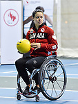 MONTREAL, QC - APRIL 29:  Cindy Ouellet dribbles a ball during the 2017 Montreal Paralympian Search at Complexe sportif Claude-Robillard. Photo: Minas Panagiotakis/Canadian Paralympic Committee