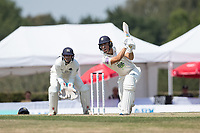 Joe Weatherley of Hampshire drives through the covers during Middlesex CCC vs Hampshire CCC, Bob Willis Trophy Cricket at Radlett Cricket Club on 11th August 2020