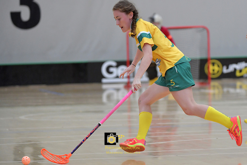 Australia's Tayla Alice Hull in action during the World Floorball Championships 2017 Qualification for Asia Oceania Region Final - Australia v Japan at ASB Sports Centre , Wellington, New Zealand on Sunday 5 February 2017.<br /> Photo by Masanori Udagawa<br /> www.photowellington.photoshelter.com.
