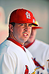 3 March 2011: St. Louis Cardinals' infielder Zack Cox stands in the dugout during a Spring Training game against the Washington Nationals at Roger Dean Stadium in Jupiter, Florida. The Cardinals defeated the Nationals 7-5 in Grapefruit League action. Mandatory Credit: Ed Wolfstein Photo