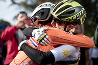 Annemiek van Vleuten (NED/Mitchelton-Scott) becomes the new World Champion after a mammoth 100+ km solo into Harrogate & is congratulated by her teammate Amanda Spratt (AUS/Mitchelton-Scott) who won bronze<br /> <br /> Elite Women Road Race from Bradford to Harrogate (149km)<br /> 2019 Road World Championships Yorkshire (GBR)<br /> <br /> ©kramon