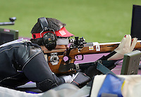 03.08.2012. London, England. Lionel Cox of Belgium takes Part in Mens Shooting 50m rifle Prone Competition  London 2012 Olympic Games in London Lionel Cox of Belgium Won Silver Medal