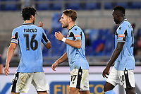 Ciro Immobile of SS Lazio (C) celebrates after scoring the goal of 2-1 with Marco Parolo and Felipe Caicedo during the Serie A football match between SS Lazio and Cagliari Calcio at Olimpico stadium in Rome ( Italy ), July 23th, 2020. Play resumes behind closed doors following the outbreak of the coronavirus disease. Photo Andrea Staccioli / Insidefoto