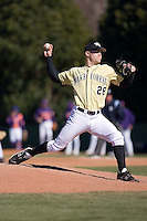 Starting pitcher Charlie Mellies (28) of the Wake Forest Demon Deacons in action versus the Clemson Tigers during the second game of a double header at Gene Hooks Stadium in Winston-Salem, NC, Sunday, March 9, 2008.