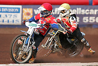 Roman Povazhny of Arena Essex (red) - Arena Essex Hammers vs Belle Vue Aces at The Arena Essex Raceway, Lakeside - 13/07/05 - MANDATORY CREDIT: Rob Newell/TGSPHOTO