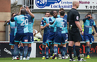 The Team celebrate as Matt Bloomfield (centre) of Wycombe Wanderers scores the first goal during the Sky Bet League 2 match between Leyton Orient and Wycombe Wanderers at the Matchroom Stadium, London, England on 1 April 2017. Photo by Andy Rowland.