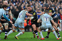 Max Lahiff of Bath Rugby takes on the Worcester Warriors defence. Aviva Premiership match, between Bath Rugby and Worcester Warriors on December 27, 2015 at the Recreation Ground in Bath, England. Photo by: Patrick Khachfe / Onside Images