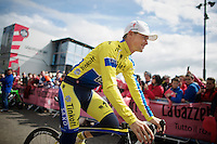 Irish rider Nicolas Roche (IRL/Tinkoff-Saxo) always gets a warm cheer at the start<br /> <br /> Giro d'Italia 2014<br /> stage 3: Armagh (NI) - Dublin (IRL) 187km