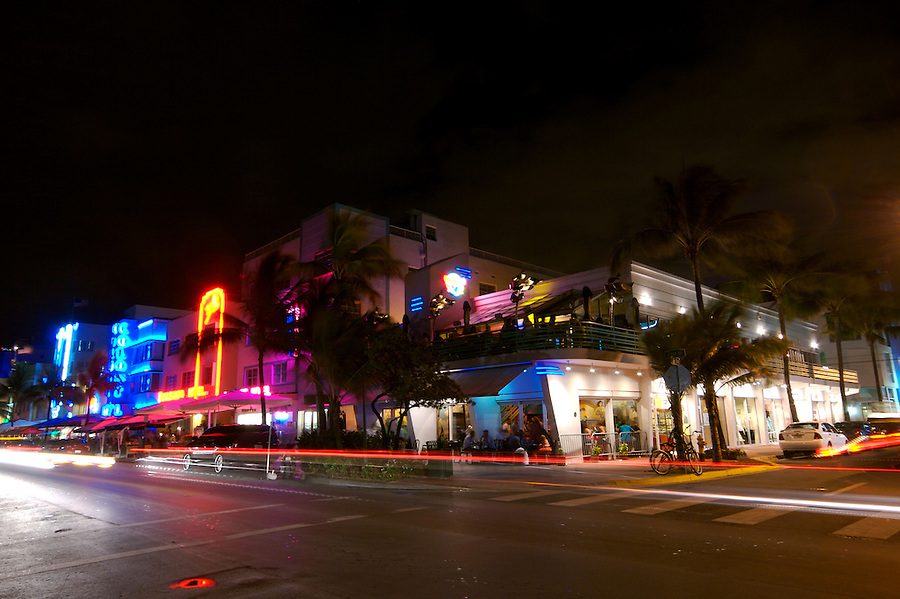 View of Corner of Ocean Drive an 8th Street in Miami Beach. Ocean Drive is one the most popular tourist attractions in Miami Beach.