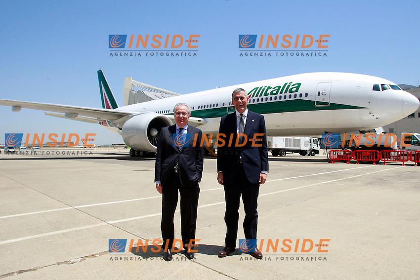 Roberto Colaninno e Andrea Ragnetti.Roma 19/06/2012 Aeroporto di Fiumicino. Alitalia Day 2012..Photo Samantha Zucchi Insidefoto