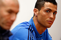 Real Madrid's forward Cristiano Ronaldo, right, flanked by coach Zinedine Zidane, attends a press conference ahead of the Champions League round of 16 first leg football match against Roma, at Rome's Olympic stadium, 16 February 2016.<br /> UPDATE IMAGES PRESS/Riccardo De Luca