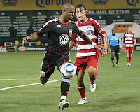 Julius James #2 of D.C. United shields the ball from Milton Rodriguez #7 of FC Dallas during an MLS match at RFK Stadium in Washington D.C. on August 14 2010. Dallas won 3-1.