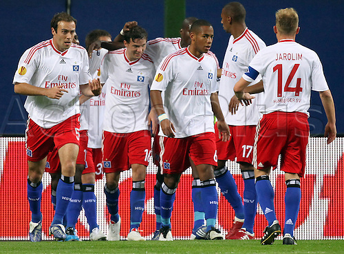 Hamburg's players cheer after Marcus Berg's (2-L) goal to 2-0 during the Europa League match SV Hamburg vs Hapoel Tel Aviv at HSH Nordbank Arena stadium in Hamburg, Germany, 01 October 2009. (Photo by Kay Nietfeld/ActionPlus). UK Licenses Only