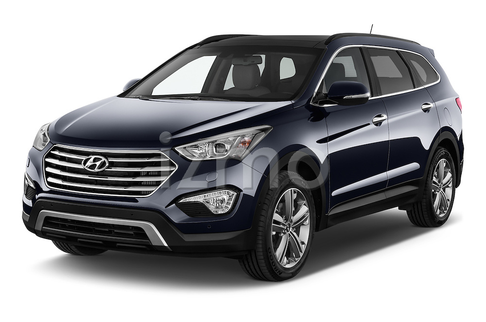 2015 Hyundai Grand Santa Fe Executive 5 Door SUV angular front stock photos of front three quarter view