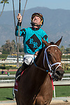 ARCADIA, CA  FEBRUARY 3 :  #1 Roy H, ridden by Kent Desormeaux, after winning the Palos Verdes Stakes (Grade ll) on February 3, 2018, at Santa Anita Park in Arcadia, CA.(Photo by Casey Phillips/ Eclipse Sportswire/ Getty Images)