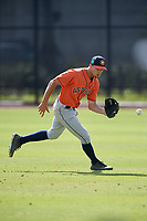 Houston Astros Jonathan Lacroix (14) during practice before a Minor League Spring Training Intrasquad game on March 28, 2018 at FITTEAM Ballpark of the Palm Beaches in West Palm Beach, Florida.  (Mike Janes/Four Seam Images)