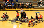 MARSHALL, MN - MARCH 17:  Abigail Dunkin #23 from University of Texas Arlington battles for the opening tip with Barbara Gross #23 from Alabama during their championship game at the 2018 National Intercollegiate Wheelchair Basketball Tournament at Southwest Minnesota State University in Marshall, MN. (Photo by Dave Eggen/Inertia)