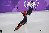 OLYMPIC GAMES: PYEONGCHANG: 17-02-2018, Gangneung Ice Arena, Short Track, 1000m Men, Winner Samuel Girard (CAN), John-Henry Krueger (USA), ©photo Martin de Jong