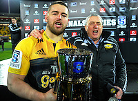 Dane Coles and coach Chris Boyd celebrate winning the Super Rugby final match between the Hurricanes and Lions at Westpac Stadium, Wellington, New Zealand on Saturday, 6 August 2016. Photo: Dave Lintott / lintottphoto.co.nz
