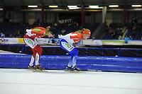 SCHAATSEN: HEERENVEEN: 25-10-2014, IJsstadion Thialf, Marathonschaatsen, KPN Marathon Cup 2, Elma de Vries (#87), Foske Tamar van der Wal (#90), ©foto Martin de Jong