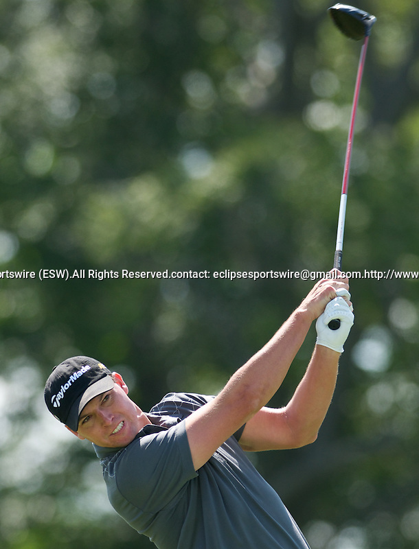 6 August 10: John Mallinger tees off in the Turning Stone Golf Championship at Atunyote Golf Club in Verona, New York